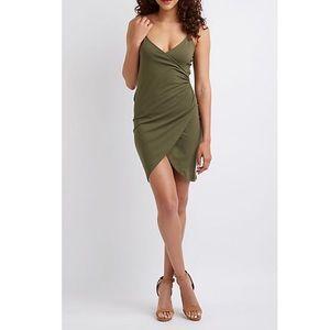 Olive green faux wrap dress